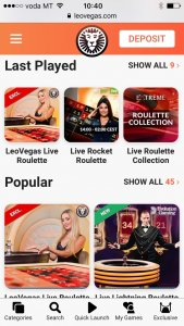 leo vegas mobile live casino game selection
