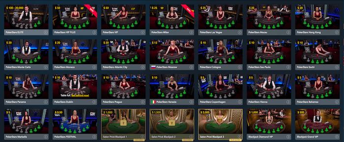 pokerstars live casino lobby showing live blackjack