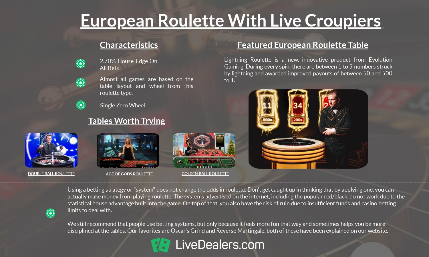 EUROPEAN ROULETTE WITH LIVE DEALERS